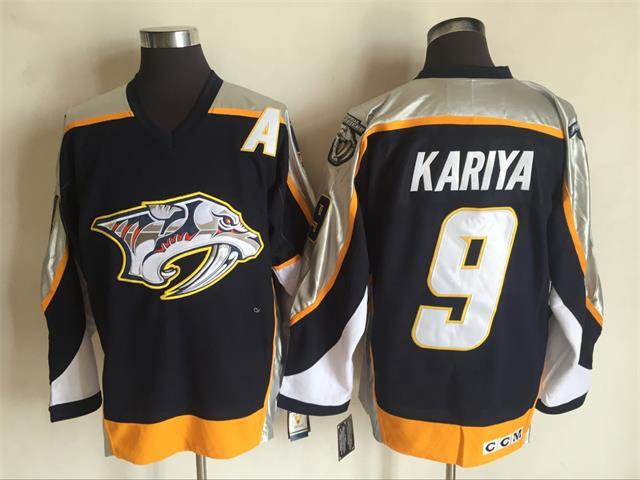 Men's Nashville Predators #9 Paul Kariya Navy Blue 1998-99 Throwback Stitched NHL CCM Vintage Hockey Jersey