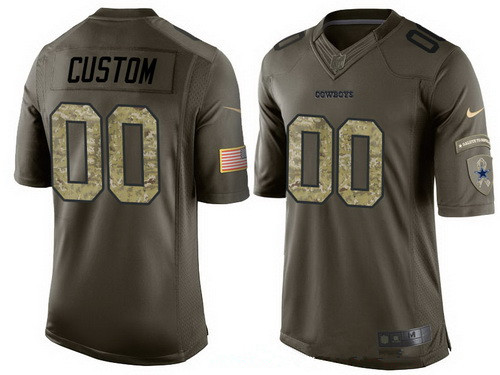 Men's Dallas Cowboys Custom Olive Camo Salute To Service Veterans Day NFL Nike Limited Jersey