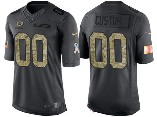 Men's Green Bay Packers Custom Anthracite Camo 2016 Salute To Service Veterans Day NFL Nike Limited Jersey