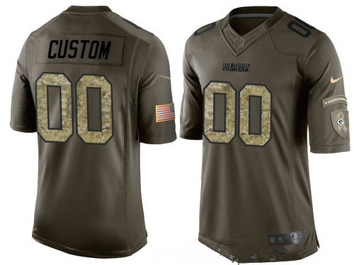 803201291 Men's Green Bay Packers Custom Olive Camo Salute To Service Veterans Day  NFL Nike Limited Jersey