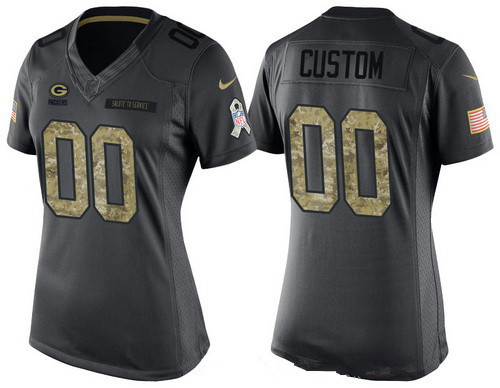 Women s Green Bay Packers Custom Anthracite Camo 2016 Salute To Service  Veterans Day NFL Nike Limited 7ae03de88