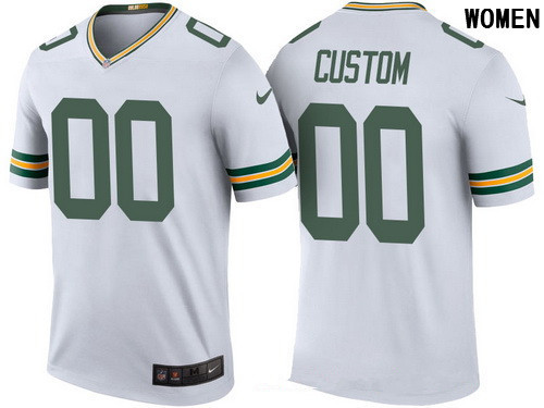 1649aa11d Women's Green Bay Packers White Custom Color Rush Legend NFL Nike Limited  Jersey
