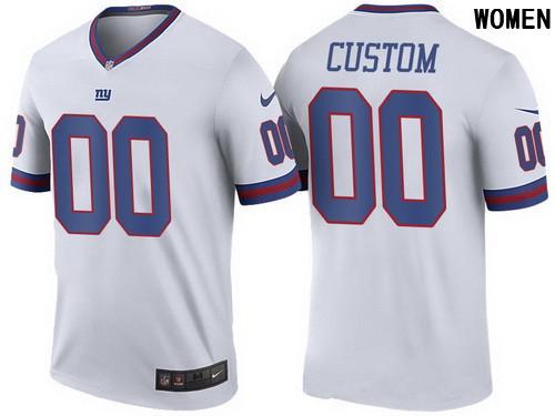 Women s New York Giants White Custom Color Rush Legend NFL Nike Limited  Jersey 4a65942e7