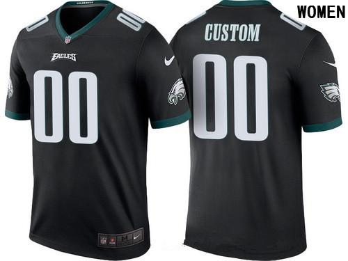 af3ffea35 Women s Philadelphia Eagles Black Custom Color Rush Legend NFL Nike Limited  Jersey