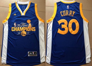 Men's Golden State Warriors #30 Stephen Curry Royal Blue 2017 The Finals Championship Stitched NBA adidas Swingman Jersey