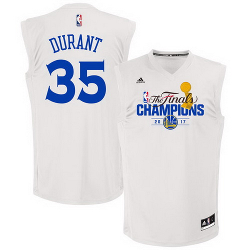 Men's Golden State Warriors #35 Kevin Durant White 2017 The Finals Championship Stitched NBA adidas Swingman Jersey