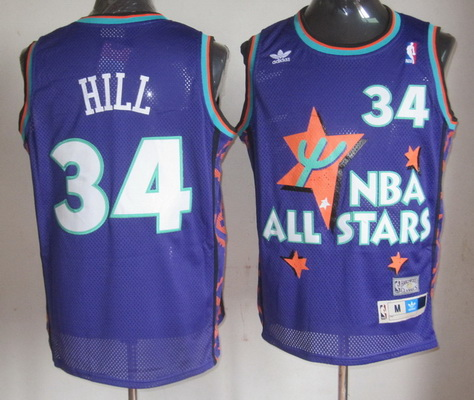 NBA 1995 All-Star #34 Grant Hill Purple Hardwood Classics Soul Swingman Throwback Jersey