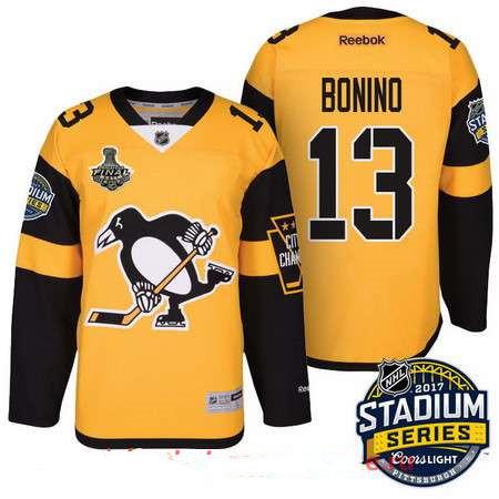 Men s Pittsburgh Penguins  13 Nick BoninoYellow Stadium Series 2017 Stanley  Cup Finals Patch Stitched NHL Reebok Hockey Jersey 3d80e685c