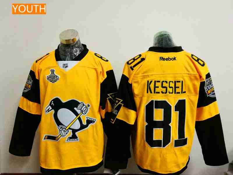 2d1127c324a ... Premier Jersey 3 Youth Pittsburgh Penguins 81 Phil Kessel Yellow Stadium  Series 2017 Stanley Cup Finals Patch Stitched ...