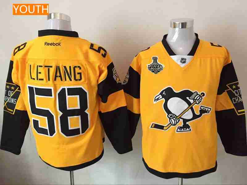 Youth Pittsburgh Penguins  58 Kris Letang Yellow Stadium Series 2017  Stanley Cup Finals Patch Stitched 49de00b38