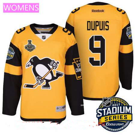 ... Womens Pittsburgh Penguins 9 Pascal Dupuis Yellow Stadium Series 2017  Stanley Cup Finals Patch Stitched ... 3cd8cb76f