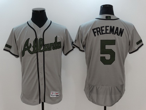 Men's Atlanta Braves #5 Freddie Freeman Gray With Green Memorial Day Stitched MLB Majestic Flex Base Jersey