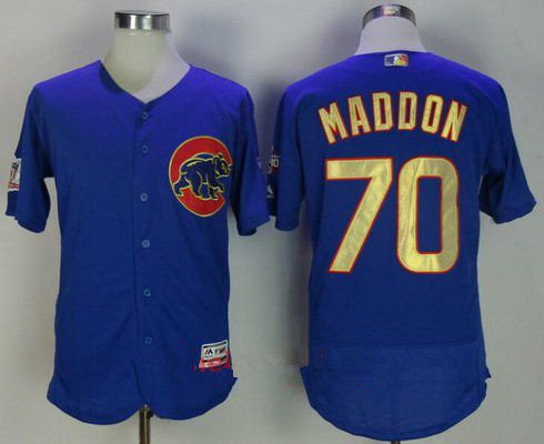 1fae61fdef7 Men s Chicago Cubs  70 Joe Maddon Royal Blue World Series Champions Gold  Stitched MLB Majestic