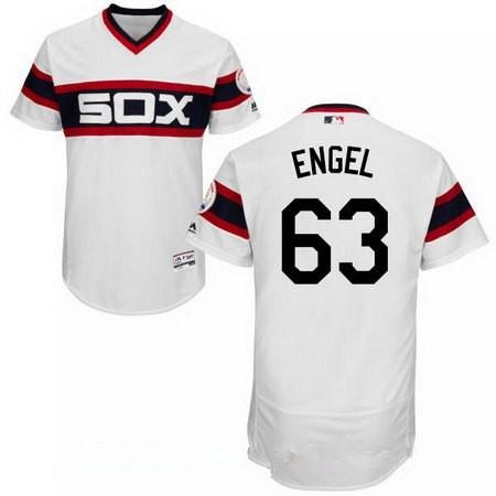 Men's Chicago White Sox #63 Adam Engel White Pullover Stitched MLB Majestic Flex Base Jersey