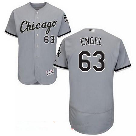 Men's Chicago White Sox #63 Adam Engel Gray Road Stitched MLB Majestic Flex Base Jersey