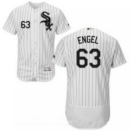 Men's Chicago White Sox #63 Adam Engel White Home Stitched MLB Majestic Flex Base Jersey
