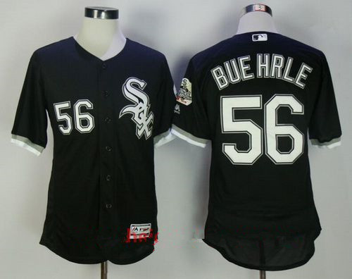 Men's Chicago White Sox #56 Mark Buehrle Retired Black Stitched MLB Majestic Flex Base Jersey with 2005 World Series Patch