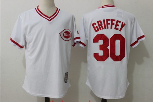 mens cincinnati reds 30 ken griffey jr retired white pullover stitched mlb majestic cooperstown coll