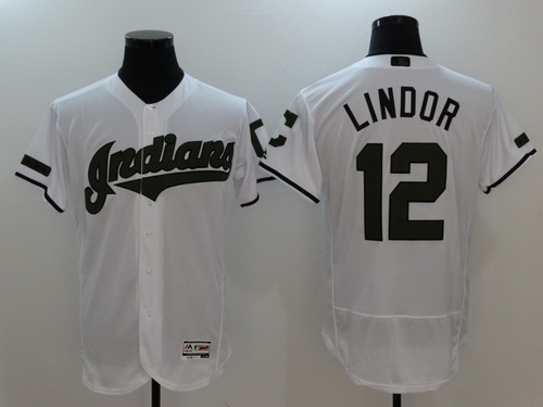 Men's Cleveland Indians #12 Francisco Lindor White With Green Memorial Day Stitched MLB Majestic Flex Base Jersey