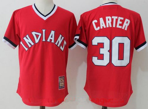 Men's Cleveland Indians #30 Joe Carter Retired Orange Pullover Stitched MLB Majestic Cool Base Cooperstown Collection Jersey