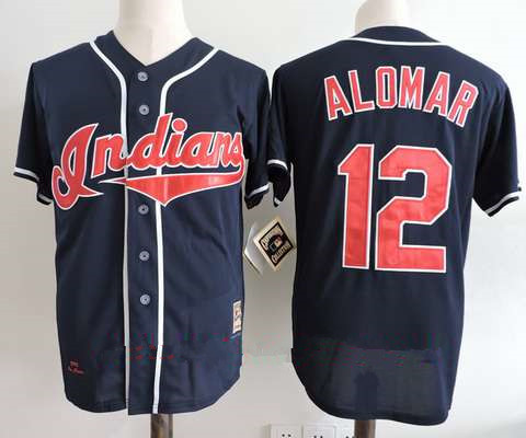 Men's Cleveland Indians #12 Roberto Alomar Navy Blue Throwback 1995 World Series Patch Stitched MLB Cooperstown Collection Jersey