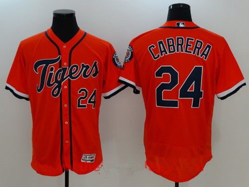 Men's Detroit Tigers #24 Miguel Cabrera Orange Stitched MLB Majestic Flex Base Jersey
