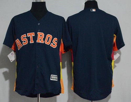 Men's Houston Astros Blank Navy Blue Stitched MLB Majestic Cool Base Jersey