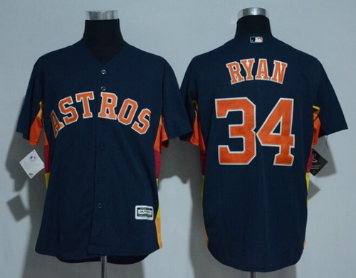 Men's Houston Astros #34 Nolan Ryan Retired Navy Blue Stitched MLB Majestic Cool Base Jersey