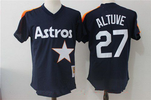 Men's Houston Astros #27 Jose Altuve Navy Blue Throwback Mesh Batting Practice Stitched MLB Mitchell & Ness Jersey