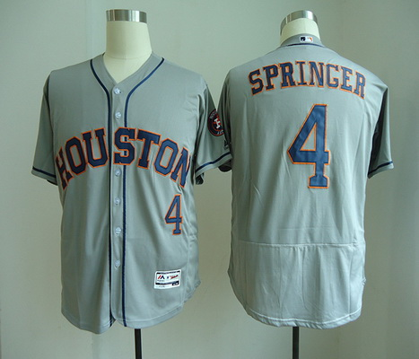 Men's Houston Astros #4 George Springer Gray Road Stitched MLB Majestic Cool Base Jersey