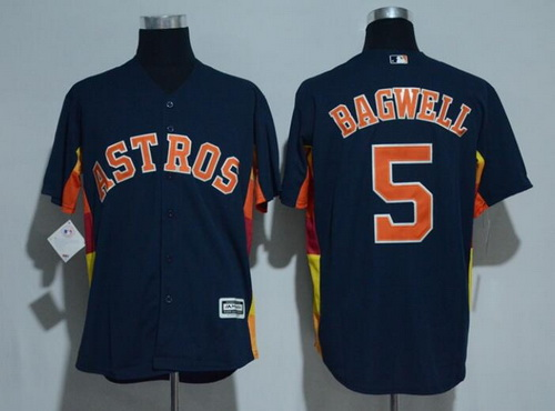 7278c6ec ... mens houston astros 5 jeff bagwell retired navy blue stitched mlb  majestic cool base jersey .
