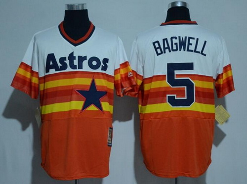Men's Houston Astros #5 Jeff Bagwell Retired Orange Rainbow Cooperstown Stitched MLB Majestic Cool Base Jersey