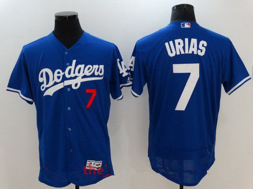 Men's Los Angeles Dodgers #7 Julio Urias Royal Blue Stitched MLB Majestic Flex Base Jersey