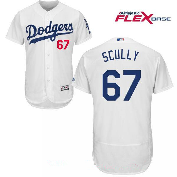Men's Los Angeles Dodgers Sportscaster #67 Vin Scully Retired White Home Stitched MLB Majestic Flex Base Jersey