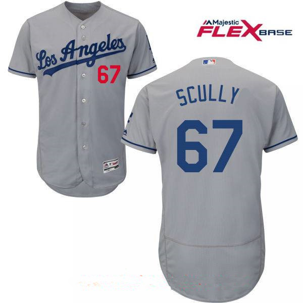 Men's Los Angeles Dodgers Sportscaster #67 Vin Scully Retired Gray Road Stitched MLB Majestic Flex Base Jersey