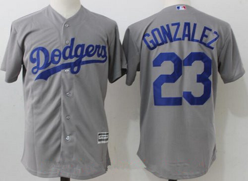 Men's Los Angeles Dodgers #23 Adrian Gonzalez Gray Alternate Stitched MLB Majestic Flex Base Jersey