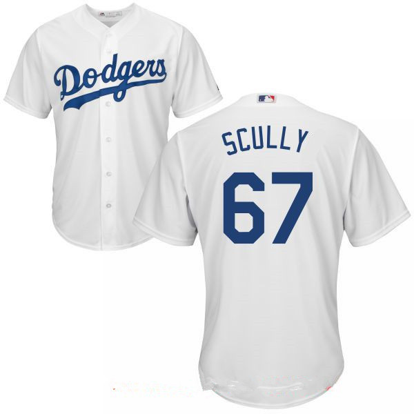 Men's Los Angeles Dodgers Sportscaster #67 Vin Scully Retired White Home Stitched MLB Majestic Cool Base Jersey
