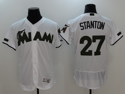 Men's Miami Marlins #27 Giancarlo Stanton Whtie With Green Memorial Day Stitched MLB Majestic Flex Base Jersey