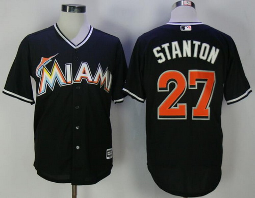 Men's Miami Marlins #27 Giancarlo Stanton Black Stitched MLB Majestic Cool Base Jersey