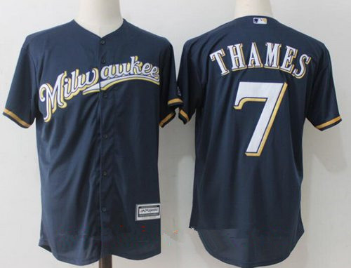 Men's Milwaukee Brewers #7 Eric Thames Navy Blue Milwaukee Stitched MLB Majestic Cool Base Jersey