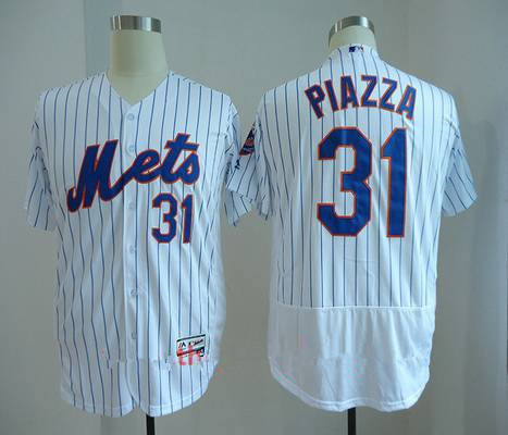 Men's New York Mets #31 Mike Piazza Retired White Stitched MLB Majestic Flex Base Jersey