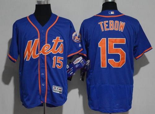Men's New York Mets #15 Tim Tebow Royal Blue with Orange Stitched MLB 2017 Majestic Flex Base Jersey