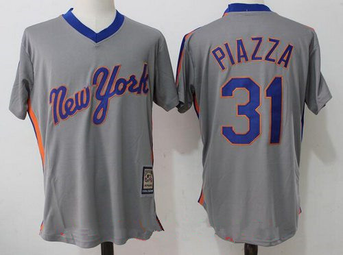 Men's New York Mets #31 Mike Piazza Retired Gray Pullover Stitched MLB Majestic Cooperstown Collection Jersey