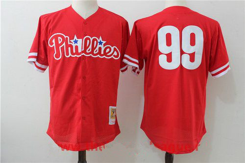Men's Philadelphia Phillies #99 Mitch Williams Red Throwback Mesh Batting Practice Stitched MLB Mitchell & Ness Jersey