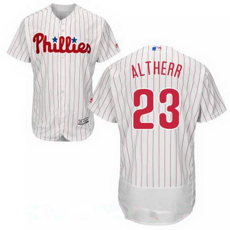 Men's Philadelphia Phillies #23 Aaron Altherr White Home Stitched MLB Majestic Flex Base Jersey