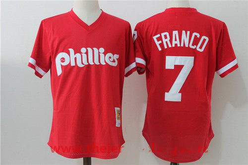Men's Philadelphia Phillies #7 Maikel Franco Red Throwback Mesh Batting Practice Stitched MLB Mitchell & Ness Jersey