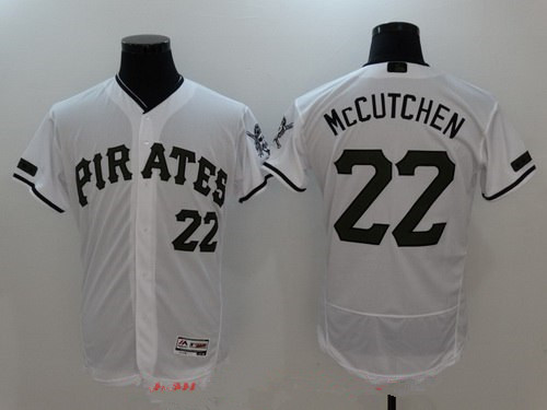 Men's Pittsburgh Pirates #22 Andrew McCutchen White with Green Memorial Day Stitched MLB Majestic Flex Base Jersey