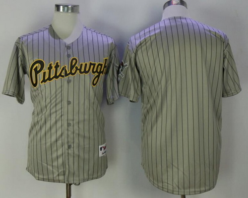 Men's Pittsburgh Pirates Blank Gray Pinstripe 1997 Throwback Turn Back The Clock MLB Majestic Collection Jersey