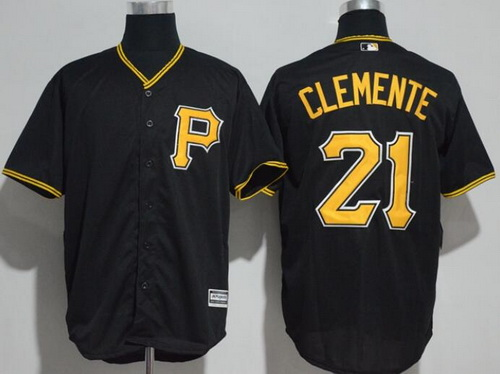 Men's Pittsburgh Pirates #21 Roberto Clemente Retired Black Stitched MLB Majestic Cool Base Jersey