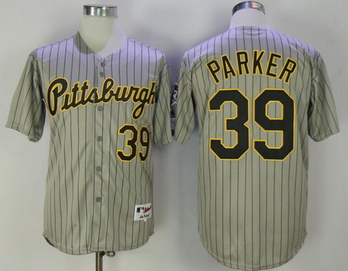 Men's Pittsburgh Pirates #39 Dave Parker Gray Pinstripe 1997 Throwback Turn Back The Clock MLB Majestic Collection Jersey